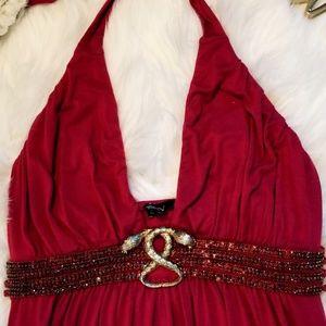SKY Red Swavarski Crystal Gold Decal Dress Large